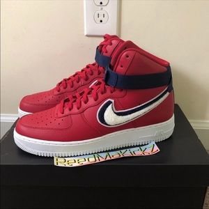 nike air force 1 high red chenille swoosh mens